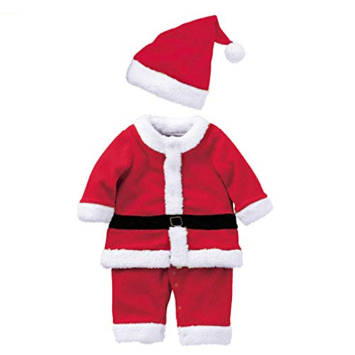 FENICAL Christmas Outfit Toddler Santa Claus Costume Set Xmas Party Cosplay Dress and Hat Set for Kids Baby Boys - Size M, Red+white