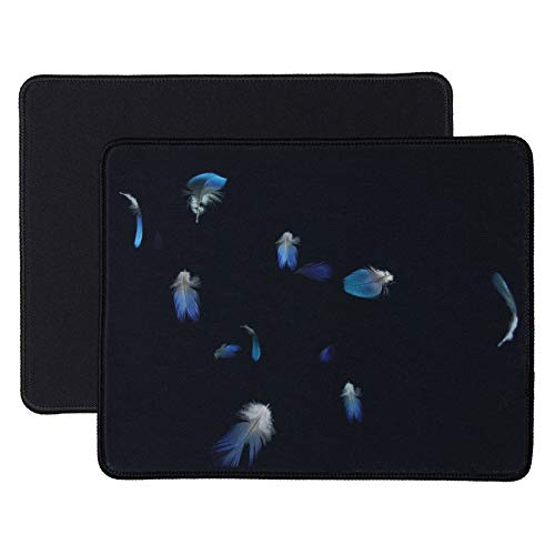 Aelfox Gaming Mouse Pad for Laptop 2-Pack with Stitched Edges, Comfortable Gaming Mouse Pads Non-Slip for Computer, Office, Home (Black+Feather)