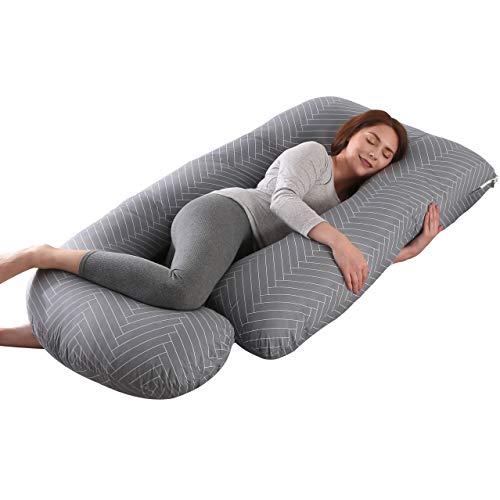ARNTY Cuscino Gravidanza per Dormire,Grande Cuscino Premaman per Dormire,Prenatal e Allattamento Neonato on Fodera Rimovibile e Lavabile (Grigio-Strisce-Forma di U)