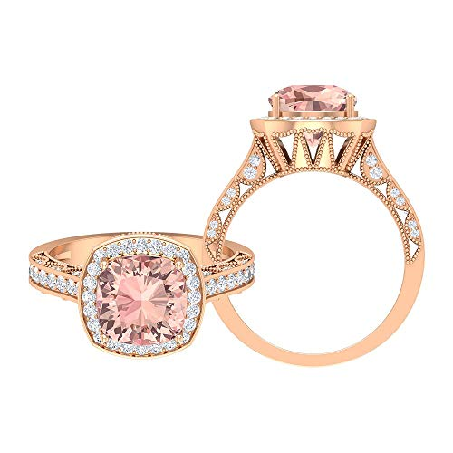 3 CT Lab kreiert Morganit und Moissanit Ring, Halo-Ring mit Seitensteinen, antiker Verlobungsring (8,5 mm Cushion Cut Lab Morganit), 14K Roségold, Size:EU 68