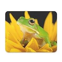 FengJu マウスパッド 光学マウス対応 個性的 おしゃれ 滑り止め ゴム製裏面 ゲームおよびオフィス用 Tree Frog Flower カエル 花柄