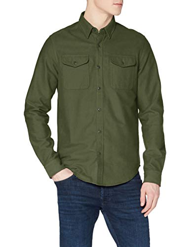 Superdry Mens TRAILSMAN Button Down Shirt, Army Moleskin, XL