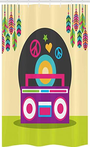 ABAKUHAUS Rock and Roll Douchegordijn, Bohemian Stereo Radio, voor Douchecabine Stoffen Badkamer Decoratie Set met Ophangringen, 120 x 180 cm, Geel Groen Multicolor
