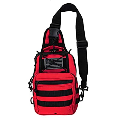 LINE2design First Aid Sling Backpack - EMS Equipment Emergency Medical Supplies Tactical Range Shoulder Molle Bag - Heavy Duty Sports Outdoor Rescue Pack - Perfect for Camping Hiking Trekking - Red