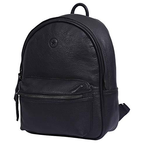 AARON LEATHER GOODS VENDIMIA ESTILO - Bolso mochila  de cuero para mujer Negro Cuervo 12.5 x 10 x 3.5 Inch