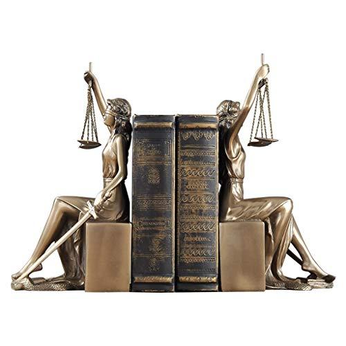 LICHUAN Sujetalibros de señora justicia, esculturas decorativas para libros, estante de libros, soporte de resina resistente, soportes para libros de oficina