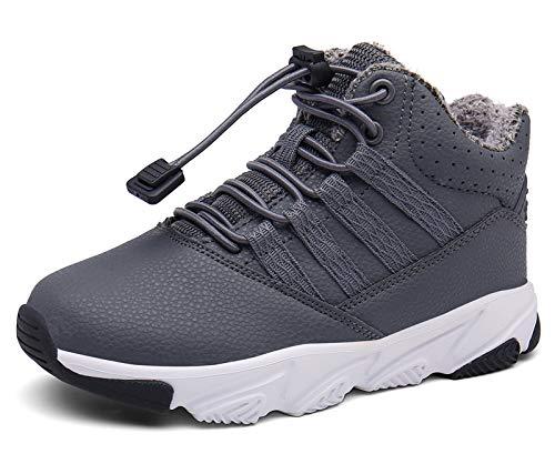 Kinderstiefel Baby Hausschuhe Warm Gefüttert Sneaker rutschfeste Stiefel Leichte Lauflernschuhe Grau EU24.5=CN26