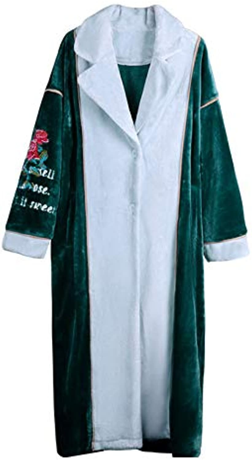 NAN Liang Women's Bathrobes 100% Cotton Dressing Gowns Thicken Warm Robes Outer Collar Luxury Winter Night Gown (L, M, XL) (Size   L)