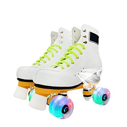 CHHBOXCHH Jugend Rollschuhe,Retro Rollschuhe,Kinder Quad Skate,Skates verstellbar mädchen,Mehrere Größen,Geeignet für Erwachsene, Kinder,White-43