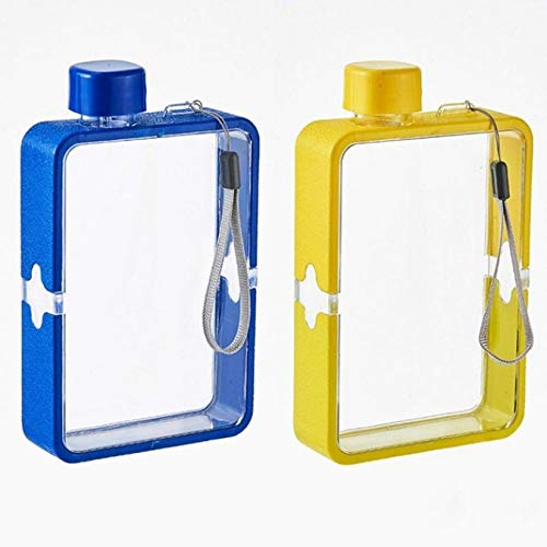 HJCE Creative Flat Water Glass,Men'S Paper Water Bottle Female Personality Sports Bottle,Square Simple Portable Fitness Cup(2 Pcs) Navy Blue+Yellow