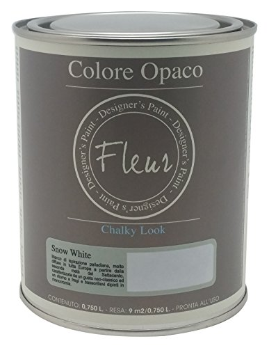 Fleur Paint 13401 - Pintura mineral (base agua, 750 ml) color snow white