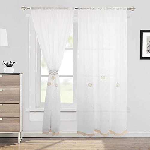 choicehot Vintage Weiß Vorhänge Landhausstil Baumwolle Spitze Scheibengardine Romantisch Häkeln Wohnzimmer Vorhang Europäischen Stil Voile Gardinen 1 Stück, W150 x L260 cm