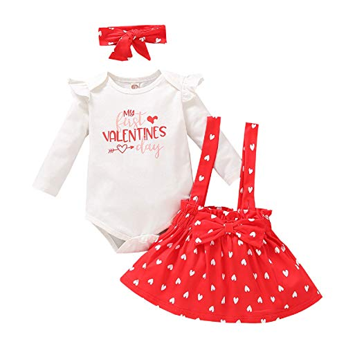 Borlai Bebé Niña Día de San Valentín Trajes Mameluco Correa Falda Diadema Conjunto de Ropa 0-12 Meses