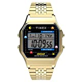 Timex T80 x PAC-MAN 34mm Digital Watch – Gold-Tone with Stainless Steel Bracelet