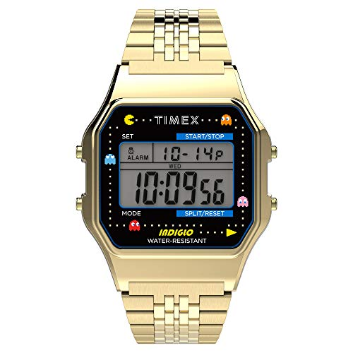 Timex T80 x PAC-MAN 34mm Watch – Gold-Tone with Stainless Steel Bracelet