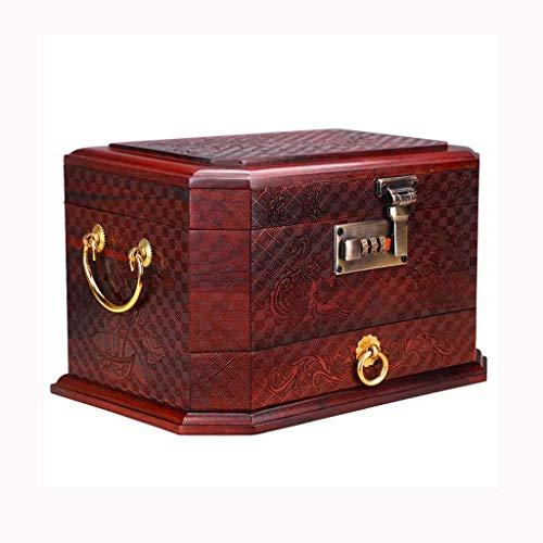 XBSXP Joyero Caja de Almacenamiento Joyero Antiguo Joyas Hechas a Mano, Artesanía de Palisandro Rojo, Decoración de tocador, Regalos para Damas, Boda
