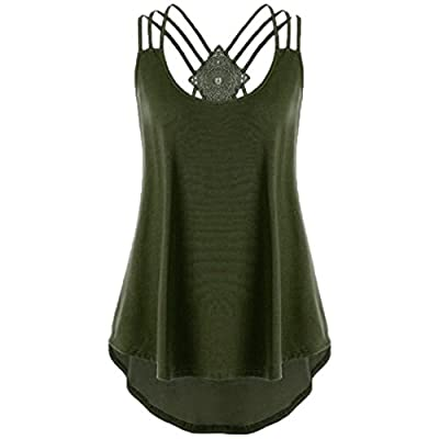 Paymenow Tunic Tank Tops for Women, Women Casual Sunflower Summer Camisole Solid Strap Cami Vest Shirts