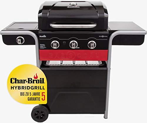 Char-Broil Gas2Coal® 330 Hybrid Grill - 3 Brenner Gas & Kohlegrill mit Seitenbrenner, Schwarz.