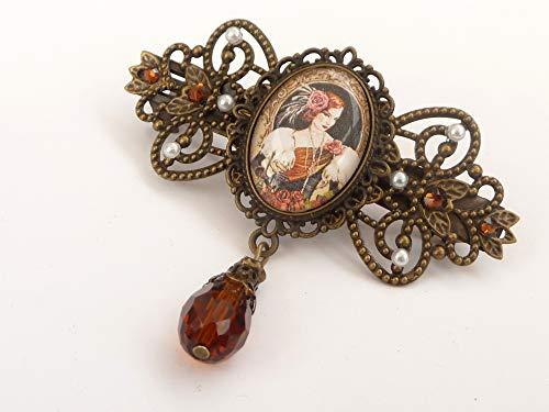 Elegante Haarspange mit Jugendstil Dame in braun bronze