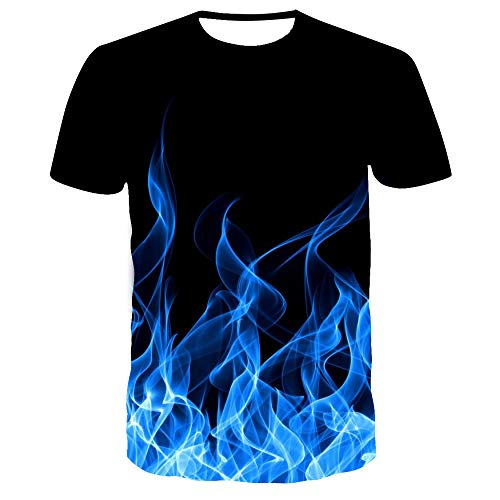 Unisex,Short Sleeve Shirt,Flame,3D Printed T Shirt Summer Personalized Casual Short Sleeve Tee Shirts Tops(110-6XL)