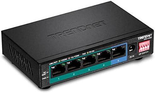 TRENDnet 5 Port Gigabit Long Range PoE Switch TPE LG50 4 x PoE Ports 1 x Gigabit Port Camera product image