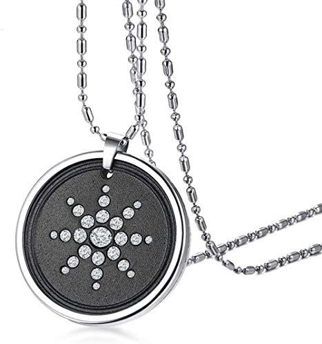 NC122 Collar con Colgante de Acero de Titanio + Piedra volcánica de Diamantes de imitación, joyería de Moda para Hombres, joyería de Cadena de 65 cm