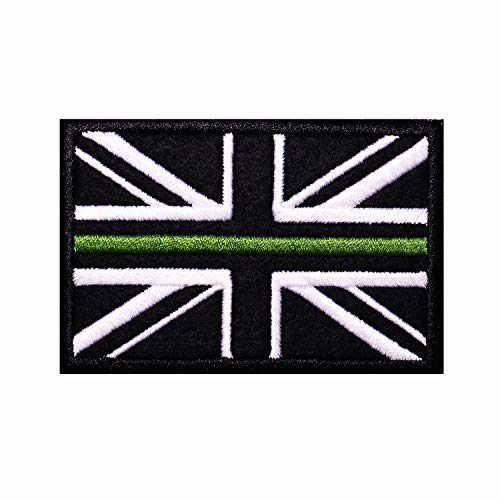 Parche de bandera de Reino Unido, diseño de bandera de Reino Unido, color blanco y negro