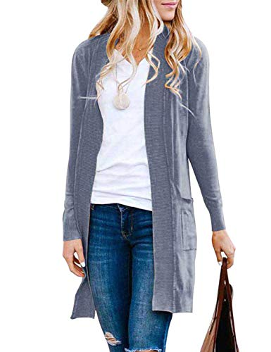 MEROKEETY Women's Long Sleeve Basic Knit Cardigan Ribbed Open Front Sweater with Pockets, Dustyblue, L