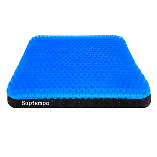 Gel Seat Cushion,SUPTEMPO Enhanced Seat Cushion,Double Gel Egg Honeycomb Design Thick Seat Cushion,for Pressure Relief Back Tailbone Pain,Car Travel Wheelchair(with Black Cover)