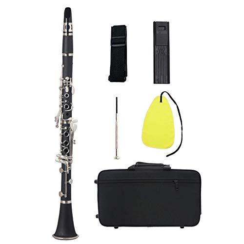 Clarinete Abs 17 Bb Soprano Plana Binocular Clarinete, Con Los Guantes Trapo De Limpieza De La Caña De La Caja De Instrumentos De Viento De Madera Destornillador (negro)