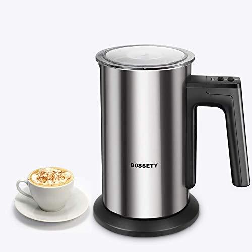 Milchschäumer, BOSSETY elektrischer Milchaufschäumer für Kaffee, Kaffee, heiße Pralinen, Latte, Cappuccino, elektrischer Milchwärmer, geräuschloser Betrieb (Silber)
