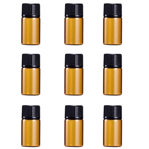 FRCOLOR Lot de 9 flacons d'échantillons d'huiles essentielles en verre ambré avec bouchon noir et réducteurs d'orifice - 3 ml