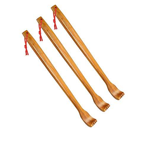 Aisahng 3 Pzs Rascadores de Espalda de Madera Masajeador de Espalda Manual de Mano Rascador de Espalda Larga para Alivio Instantáneo de Relajación Corporal de Picazón