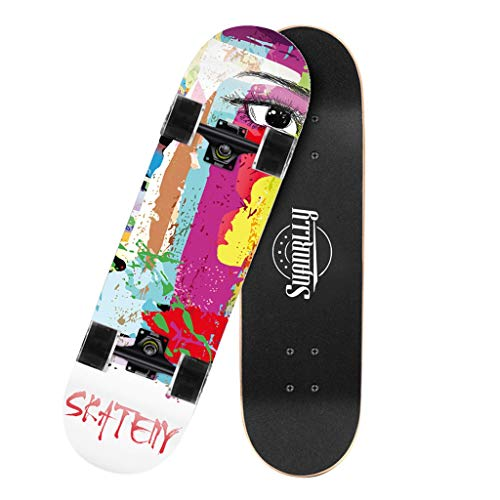 SHUANGA Mini Cruiser Board Retro Skateboard completo con ruote luminose a LED per ragazzi e adulti