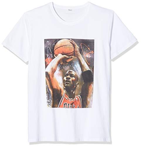 Michael Jordan Camiseta de Baloncesto para Hombre con Estampado de Cuadros, Hombre, Camiseta, MC292, Blanco, Extra-Small