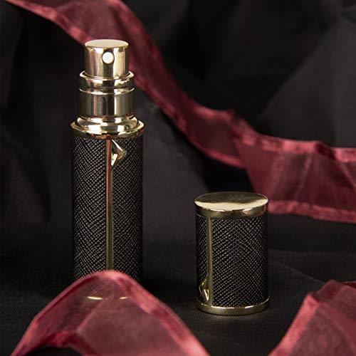 XY&YD Botella Vacía para Hombres Y Mujeres con Mini Pocket,Cuero Botella De Perfume Rellenable para Viajes,Viaje Mini Botella De Perfume,Portátil Moderno Bomba De Perfume-Negro en penh 5ml