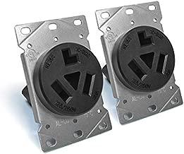 [2 Pack] BESTTEN 30 Amp Flush Mounted Receptacle, Dryer Outlet, NEMA 10-30R, 125/250V, 3-Pole, 3-Wire, CommercialGrade, No Ground, UL Listed, Black