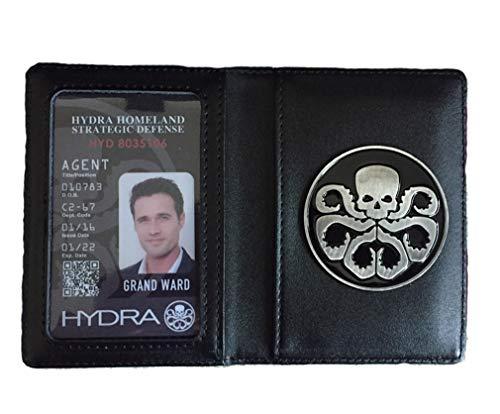 Agenten van Shield Echt Lederen ID Kaarthouder Commuter Pass Houders Portemonnee Met Hydra Metalen Badge (ID:Grand Ward)
