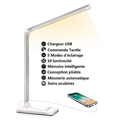 Lampe de Bureau LED, Lampe de Table Dimmable 5 Modes de Couleur 10 Niveaux de Luminosité, Flexible...