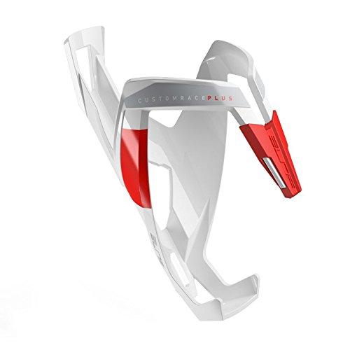 Elite Custom Race Plus - Fahrrad Trinkflaschenhalter Weiß / Rot, glänzend