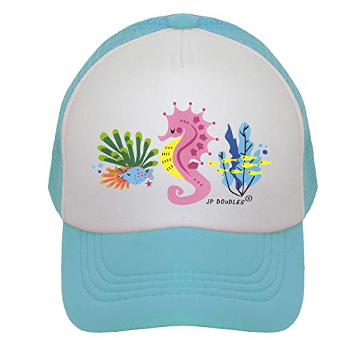 JP DOoDLES Seahorse Hat Kids Trucker Hat. Baseball Mesh Back Cap fits Baby, Toddler and Youth (Kiddo 2-5 Yrs, Teal)