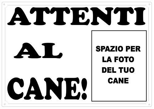 Cartello, Targa NERA ATTENTI AL CANE  da Cancello PERSONALIZZABILE CON LA FOTO DEL TUO CANE cm 30 x 21,5