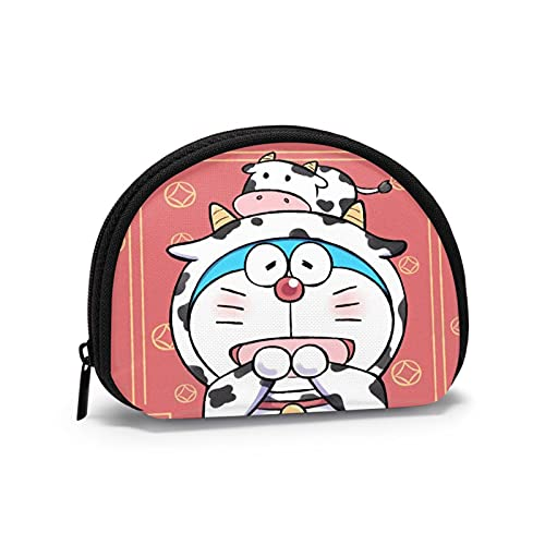 Doraemon Kawaii japonés lindo cambio monedero con cremallera dinero chang bolsa mini Shell en forma de cartera para mujeres y niñas