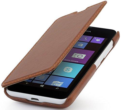 StilGut® UltraSlim Hülle, Tasche in Book Type Stil aus Leder für Nokia Lumia 530, cognac
