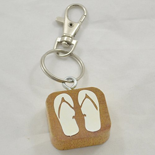 Handmade Reclaimed Wood Wooden Keychain Luggage Tag with Flip Flops