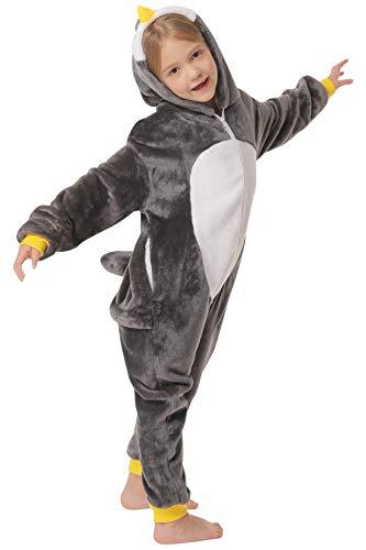 corimori 1851 Pablo der Pinguin Kinder Jungen Mädchen Onesie Jumpsuit Anzug Kostüm Verkleidung (Gr. 110-130 cm), Schwarz