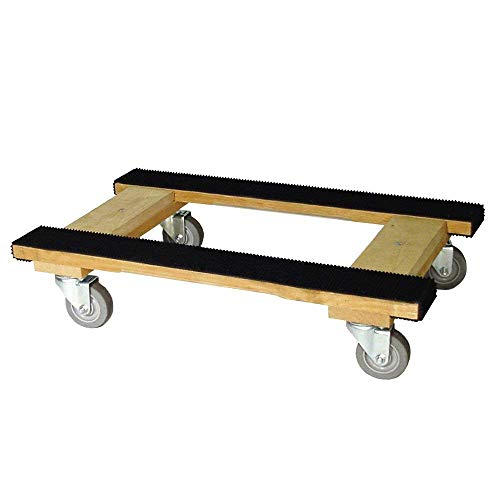 Heavy Duty American Oak H Dolly with Full Length Rubber Tread Dual Rail 18 X 30 with 4 Inch CASTERS (18x30)