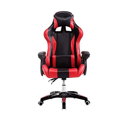 Gamer Stuhl Gaming, Erhöhte Rotary-High-Rücken-Gaming-Stuhl der Ergonomie-Computerstuhl mit Kopfstütze und Massage-Lendenkissen Gartenstuhl