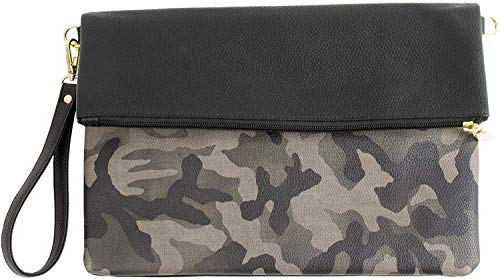 MALTA Vegan Leather Wristlet for Women and Men Camoflauge Clutch Purse Bag High Capacity Light Simple - Green