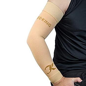 KEKING Medical Compression Arm Sleeves  Pair  15-20 mmHg Graduated Compression Arm Support with Silicone Band Post Surgery Recovery Pain Relief Swelling Lymphedema Lipedema Edema Beige L
